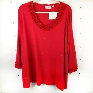 NWT Quacker Factory 3/4 Sleeve Shirt 2X Ruffles